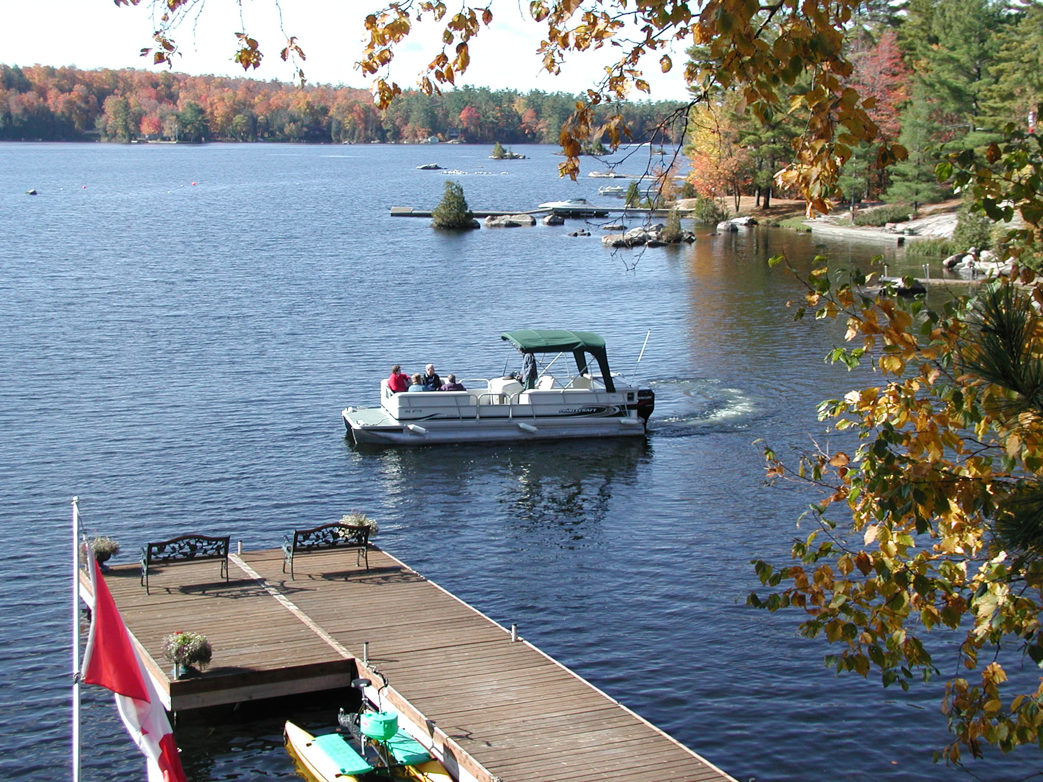 Fall cruise on our pontoon boat